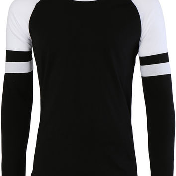 LE3NO Mens Lightweight Round Neck Striped Raglan Sleeve T Shirt