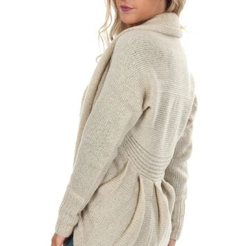 Pleated Knit Cardigan Beige