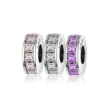 DCCKFC9 Pandora Bracelet Austria Crystal Spacer Beads For Jewelry Making 925 Sterling Silver Crystal Spacers Charms