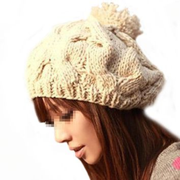 Hat Korean Beanies For Women's Winter Cap Warm Knit Hat Beanie Crochet Warm Pumpkin Ball Cap Skullies Hat Bonnet Femme Gorros