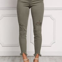 Olive Cut Out Frayed Skinny Jeans