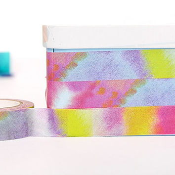 rainbow mix washi tape 10M Colorful tape tie dye style washi tape dye fabric pattern sticker tape Japanese Masking tape diary scrapbook gift