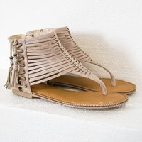 Suede Strap Ankle Sandals