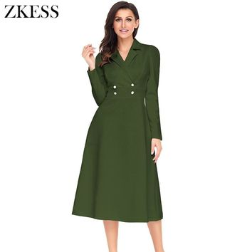Zkess Women Vintage Button Dress Fashion Casual Notched Fit and Flare Long Sleeves Slinky Stretch Midi Swing Dress LC61803
