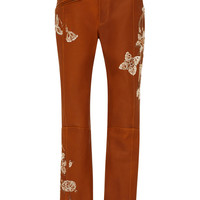 Natural Lether Embroidered Pants | Moda Operandi