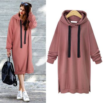 CYAN 2018 Autumn Winter Long Sweatshirt Women Casual Split Long Sleeve Hoddies Female Loose Pullover Hoody Dresses Coat BTS