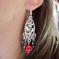 Skulls & Crystals Pierced Earrings Halloween Dia de los Muertos, Day of the Dead