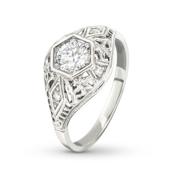 Antique Filigree Diamond Accent White Gold Engagement Ring