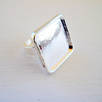 RING BEZEL SETTING Blank Adjustable Square Silver Plated Finger Ring Jewelry Findings Wholesale CrazyCoolStuff