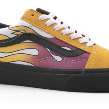 Vans Women's Old Skool Shoes - (flame) banana/black - Free Shipping