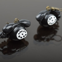 Black and white handmade plastic dangle earrings with charms in the shape of phones