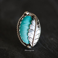 Size 6.5 Sterling Silver Large Turquoise Ring, Southwestern Ring, Native American Jewelry, Oxidized, Rope Ring, Leaf Ring, Ready To Ship!