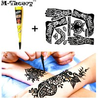 M-Theory Henna + Full Stencils Mehndi Henna Paint Temporary Tattoos Body Arts Flash Tatoos Waterproof Swimsuit Bikini Makeup