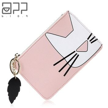 Women's Cute Cat Leather Coin Purse With Tassel