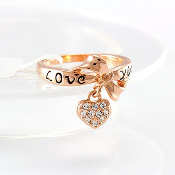 18k Gold plated rings, love heart drop finger ring with Crystals for women, Women Rings, Size 7