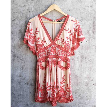 honey punch - v neck short sleeve embroidered lace romper - nude/red