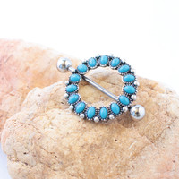 Turquoise Nipple Ring Southwestern Tribal Oval Blue Beads Piercing Jewelry Round