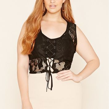 Plus Size Self-Tie Lace Top