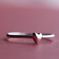 Tiny Sterling Silver Puffy Heart Ring by ThirtySixTen on Etsy