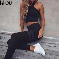 Kliou 2017 Women fitness Two Piece Set Women Sexy Set Sporting Bra sporting Top+Long workout Pants High-Quality workout Suits