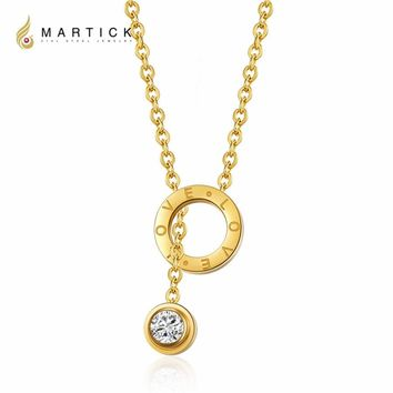 Martick Fashion Adjustable Clavicle Chain Pendant Necklace With Love Letters 316L Stainless Steel Necklace For Woman P30