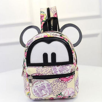 Mickey Mouse Cute pattern ears eyes canvas bag school backpack various styles