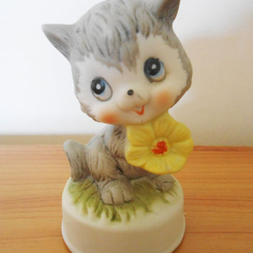Vintage Midcentury Cat Ornament- 1960s 1970s Kitsch Anthropomorphic- Bisque Kitty with Flower