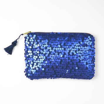Mini Elektra. Mermaid Navy Blue Sequin Clutch. Matte-finish sequin pouch with Tassel. Blue Tassel Metallic. Royal Blue. Free US shipping
