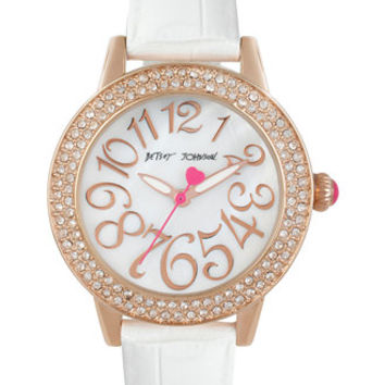 Betsey Johnson Women's White Leather Strap Watch 33mm BJ00251-05