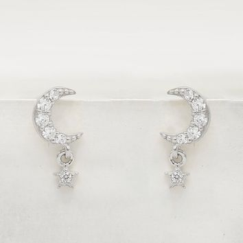 Moon and Star Studs - Silver