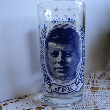 JFK President John F Kennedy Collectible Drinking Glass 60s Era Vintage Memorabilia PT109 and Rocking Chair of President JFK Christmas Gift