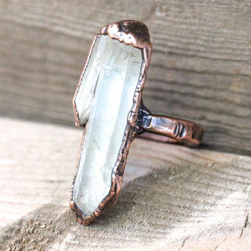 Raw Crystal Ring Quartz Crystal Ring Mineral Jewelry Electroformed Copper Jewelry Natural Quartz Crystal Ring