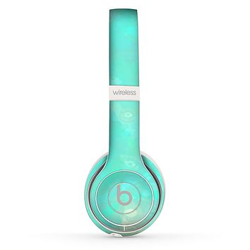 The Bright Teal WaterColor Panel Skin Set for the Beats by Dre Solo 2 Wireless Headphones