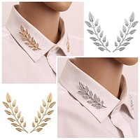 1 Pair Fashion Exquisite Leaf Brooch Leaves Pins Brooches For Women Large Brooch Pins 2 Colors Gold Silver Leave Broche Collar