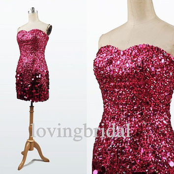 2014 Short Red Sequins Crystal Satin Evening Dress Bridesmaid Dress Prom Dress Wedding Party Dresses Bridesmaid Gown Bridesmaid Dress 2013