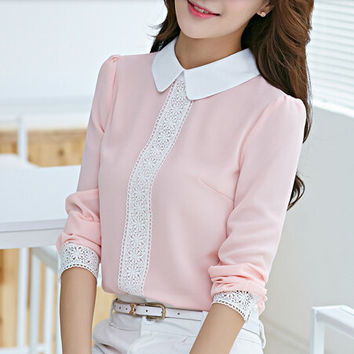 New arrival 2016 Autumn Peter pan collar chiffon blouse, Women's long sleeve Lace Crochet top blouses, women pink blusas shirts