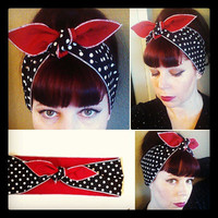Black white polka dot & Red WIDE double sided Headwrap Bandana Hair Bow Tie 1950s Vintage Style - Rockabilly - Pin Up - For Women, Teens