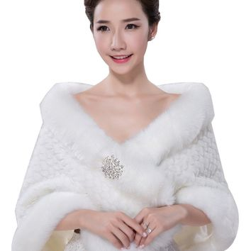 In Stock Wedding Accessory Faux Fur Black White Custom Made Bridal Coat Wedding Bolero Stoles Jacket Shrug Wraps LF33