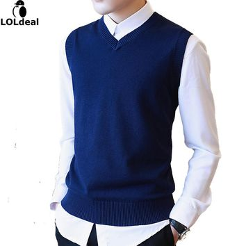 M-3XL 100% Cotton Casual Sweater Men Male Sweater Vest Men Knitted Sleeveless Men Sweater V Neck Christmas Sweater With Deer
