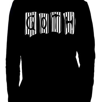Black & White Vertical Stripe GOTH Men's Long Sleeve T-Shirt Beetlejuice Clothing