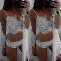 2016 new Swimwear women Brazilian Bikini Hollow out lace Bathing Suit  Bandage Push Up Padded White Swimwear Swimsuit Bathing
