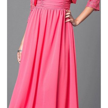 CLEARANCE - Chiffon Long Evening Dress Coral Lace Bolero Jacket (Size Medium)