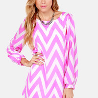 Zag Along Lilac Purple and Ivory Striped Dress