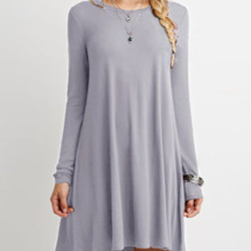 Casual Grey Shift Long Sleeve Dress