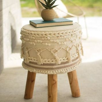 Macramé© Stool With Wooden Legs