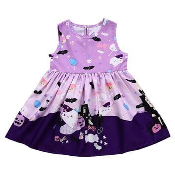 2018 New Halloween Bat Purple Dress Baby Girls Print Pumpkin Clothing Boutique Cartoon Kids Wear Dress