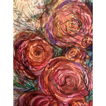 """""""Pink Roses"""" Alcohol Ink painting"""
