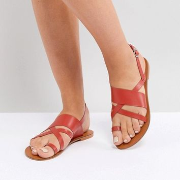 ASOS FINLEY Leather Flat Sandals at asos.com