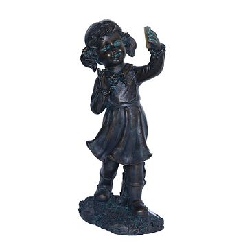 "18"" Distressed Black & Bronze Girl with Cell Phone Solar Powered LED Lighted Outdoor Patio Garden Statue"
