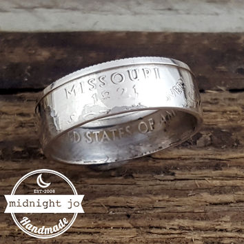 Missouri 90% Silver State Quarter Coin Ring